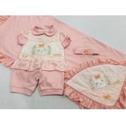 Saída de Maternidade Coelhinha - Recém Nascido - 03 Peças - Pipoquinhas Baby