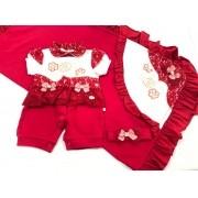 Saída de Maternidade Rendada - Recém Nascido - 03 Peças - Pipoquinhas Baby