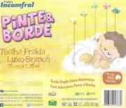 Toalha Fralda Luxo c/ Faixa p/ Pintar e Bordar - 70 x 110 cm - Branca c/ 3 - Incomfral