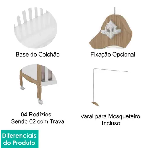 Berço Elô Americano c/ Kit Capitonê - Móveis Peroba