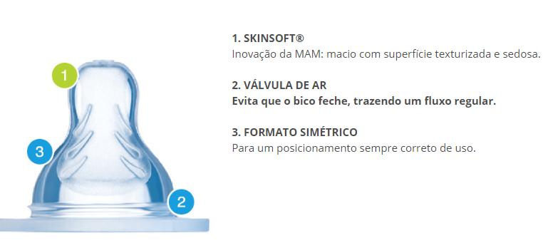 Bico de Mamadeira Simétrico -  Antivazamento - Fluxo Rápido - 2 unidades - +4m - MAM