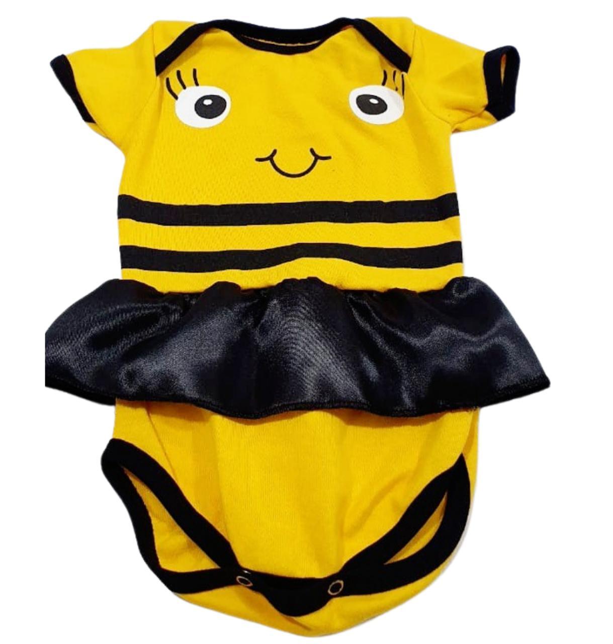 Body Abelha - Estampado Com Saia e Meia Manga - 0 à 7 meses - Suedine 100% Algodão - Família Kids