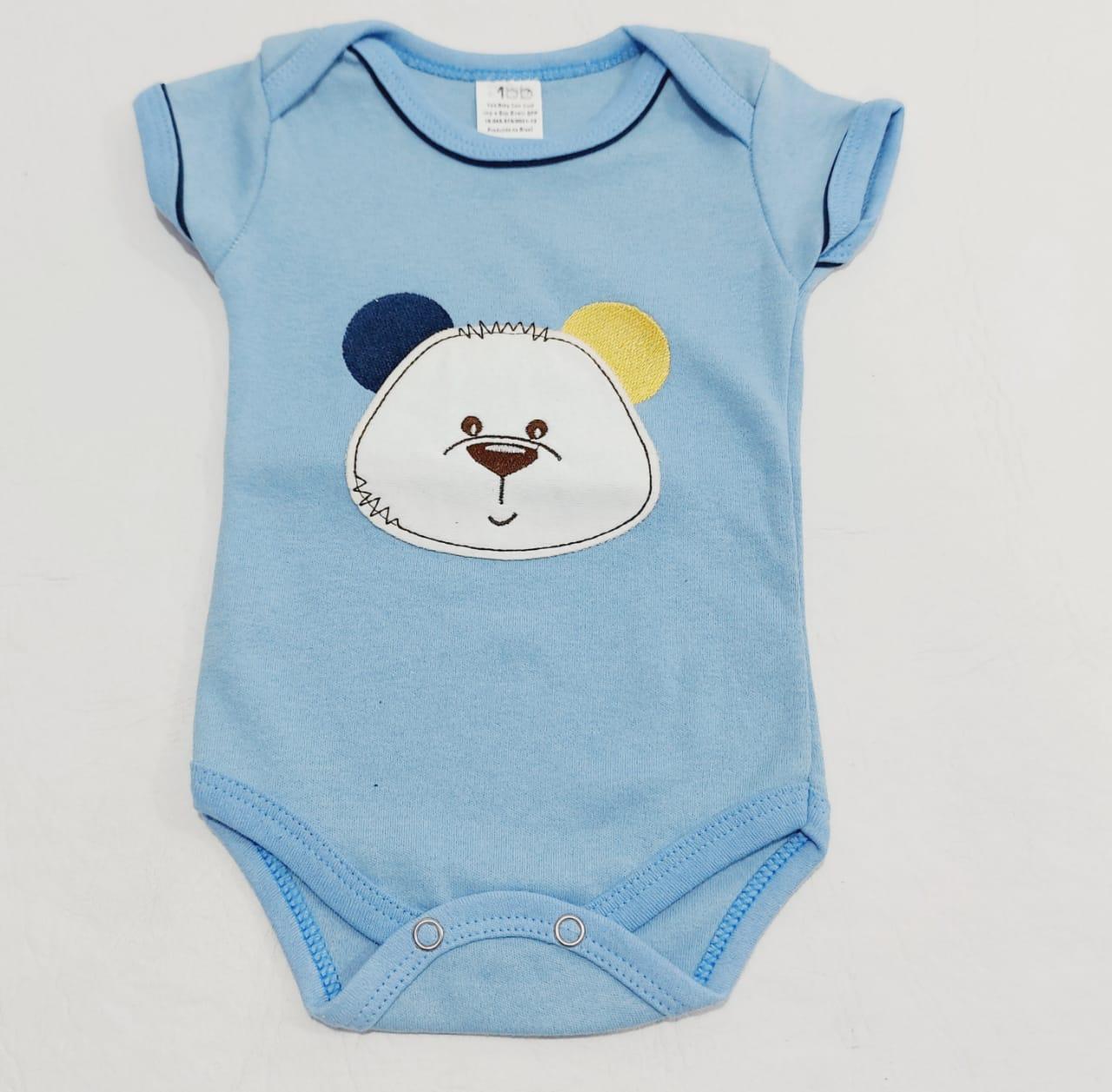 Body Baby Bear - Meia Manga Bordado - 0 à 8 meses - 100% Algodão - Yala Baby