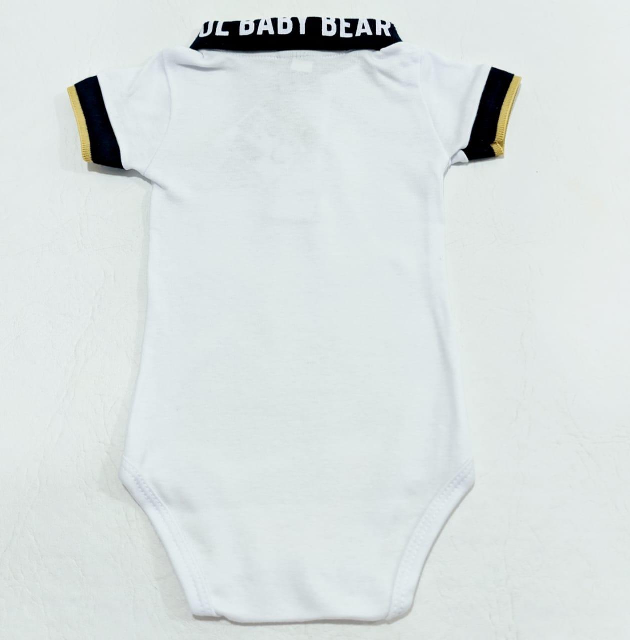 Body Baby Bear - Gola Polo Branco Estampado - 01Peças - 100% Algodão - Pulla Bulla
