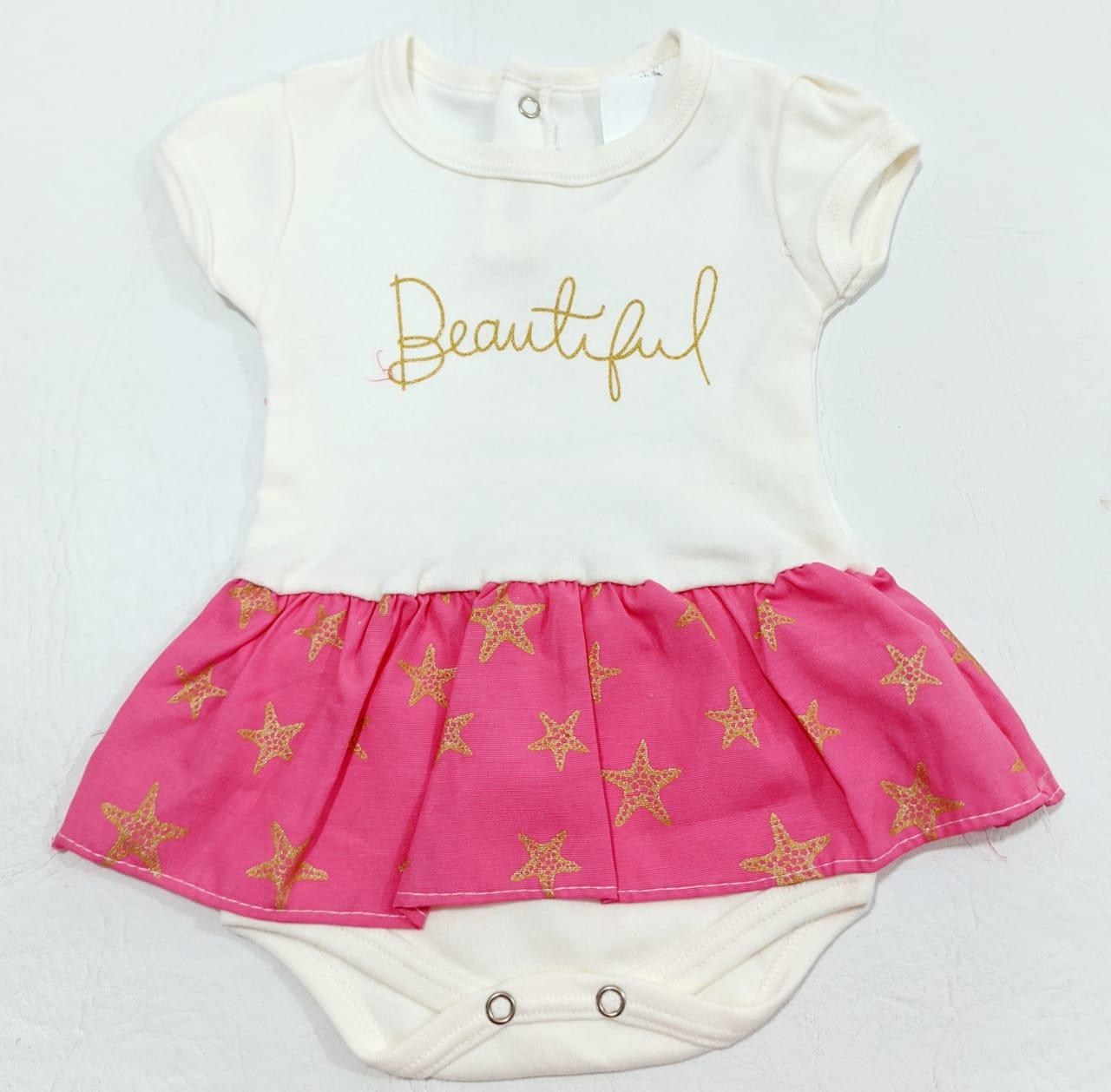 Body Beatiful - Estampado + Babado - 0 à 3 meses - 100% Algodão - Yala Baby