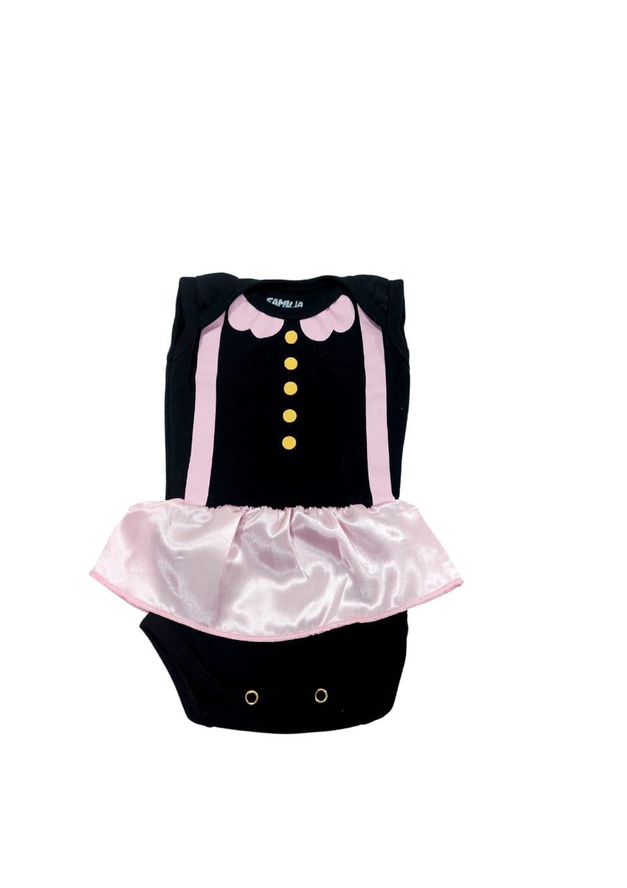Body Black Pink Com Saia - 0 à 7 meses - Suedine 100% Algodão - Família Kids