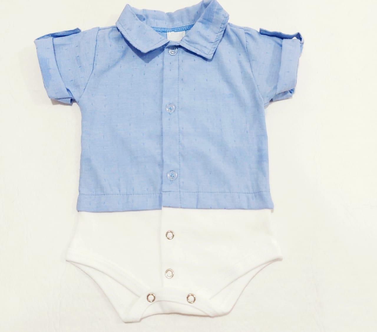 Body Camiseta Estampado - Gola Polo - 1 à 3 meses - Em Algodão - Yala Baby