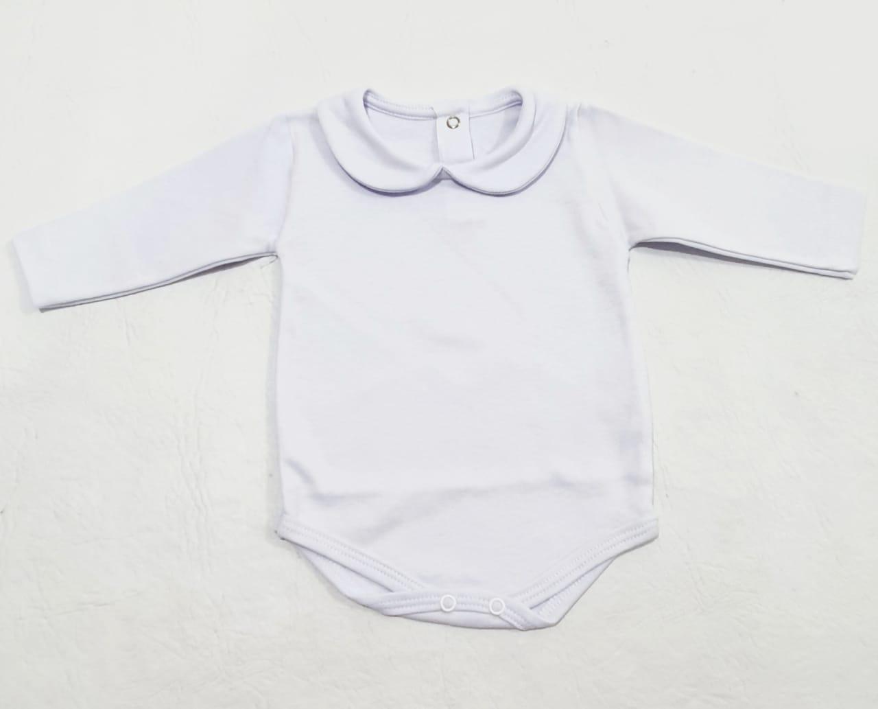 Body Gola e Manga Longa Branco - Tam P - 100% Algodão e Suedine - Tamine