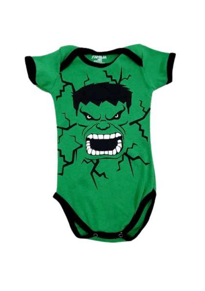 Body Hulk - Estampado Meia Manga - 5 à 7 meses - Suedine 100% Algodão - Família Kids