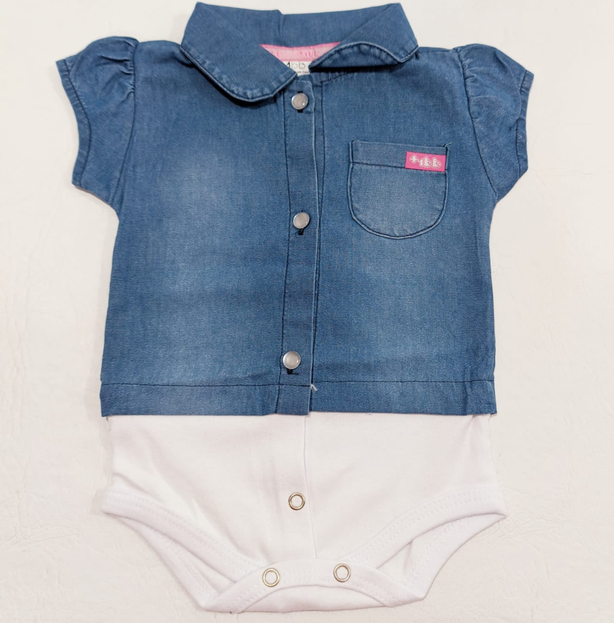Body Jeans Menina - Meia Manga - 01 peça - 0 à 8 meses - 100% algodão - +1BB