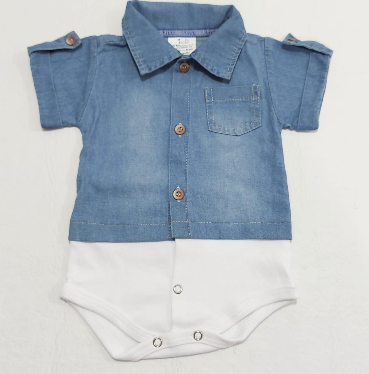 Body Jeans Menino - Meia Manga - 01 peça - 0 à 8 meses - 100% algodão - +1BB