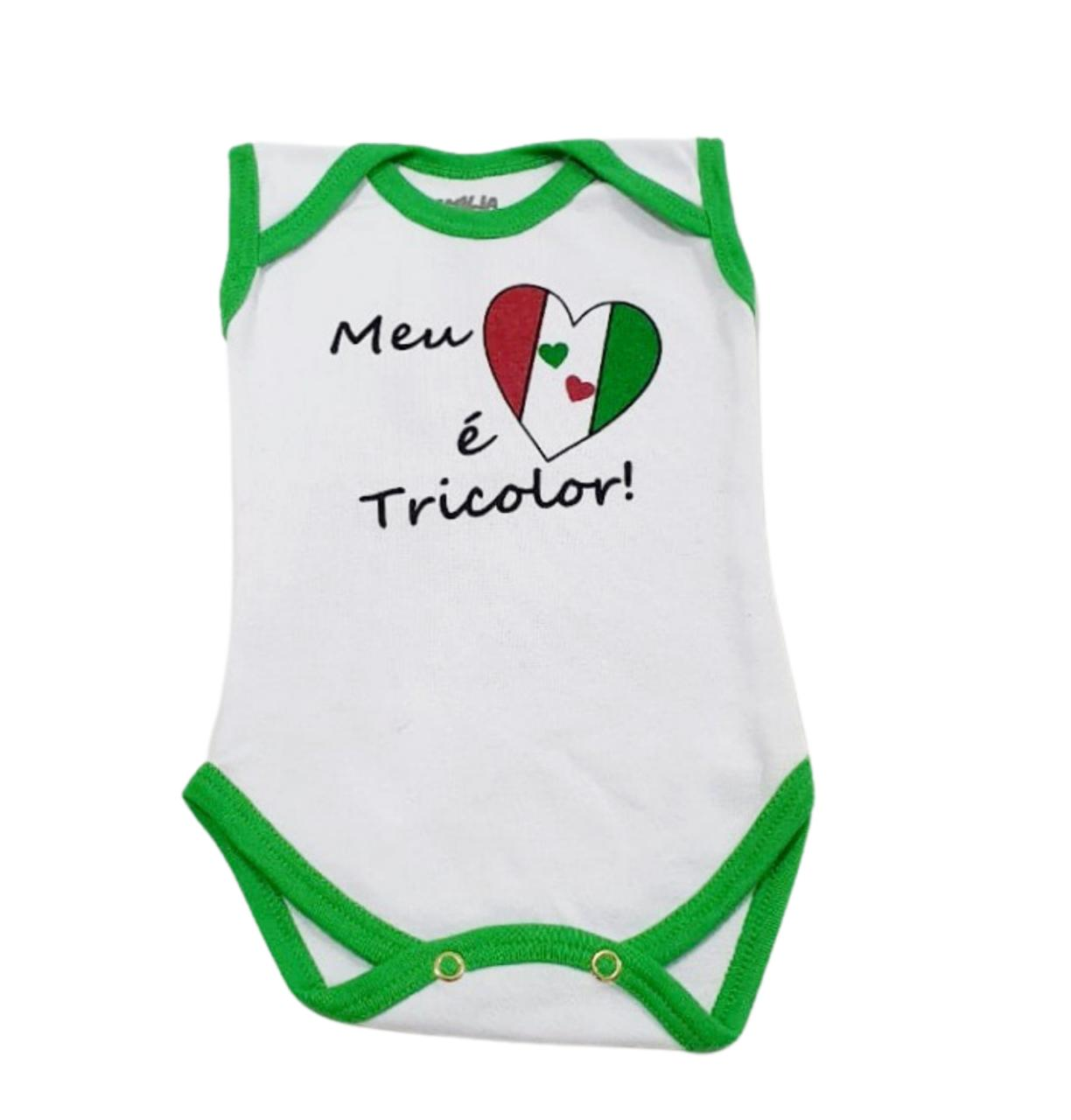 Body Meu Coração É Tricolor - Estampado - 0 à 7 meses - Suedine 100% Algodão - Família Kids