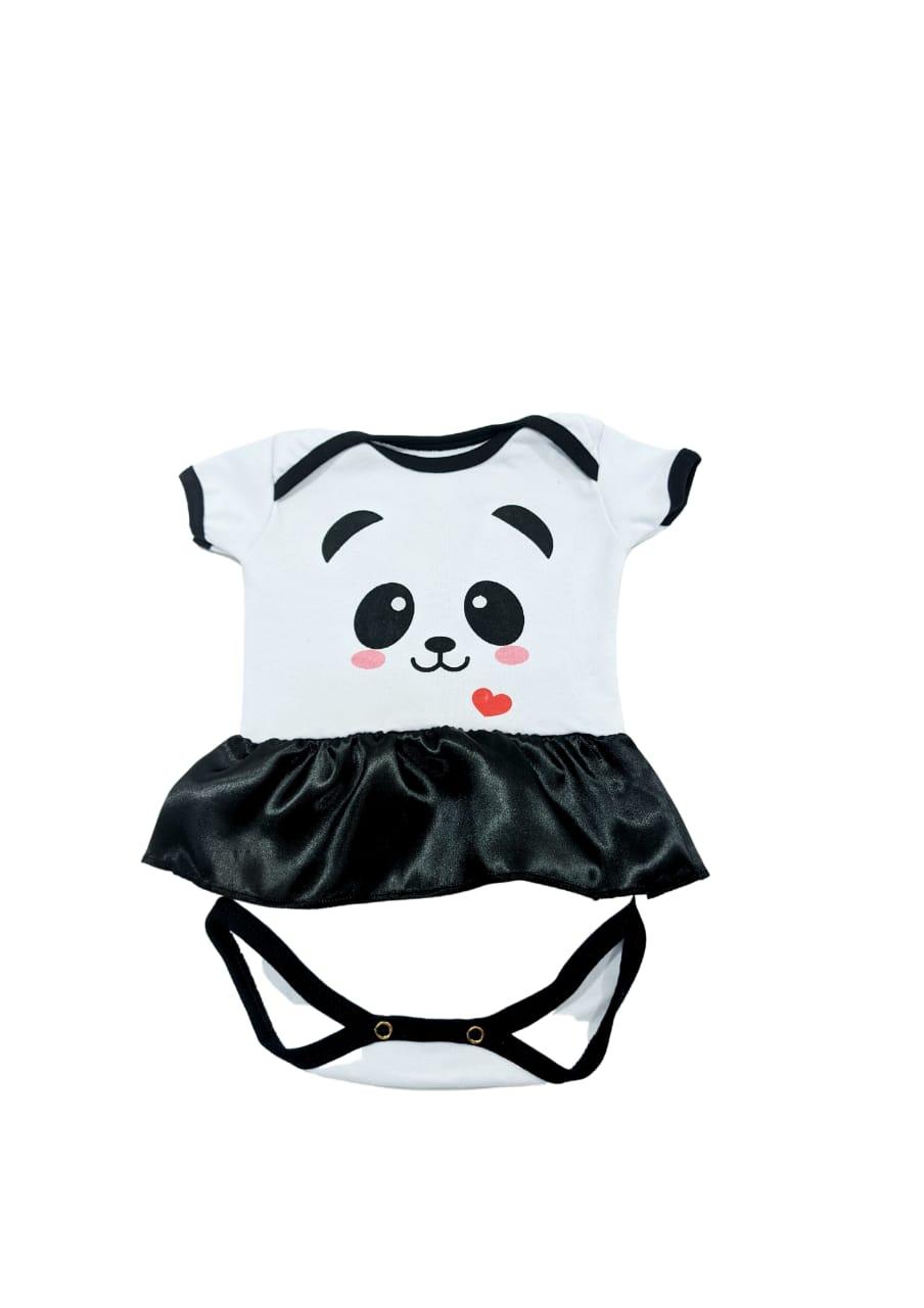 Body Panda Girl - Meia Manga Com Saia - 0 à 7 meses - Suedine 100% Algodão - Família Kids