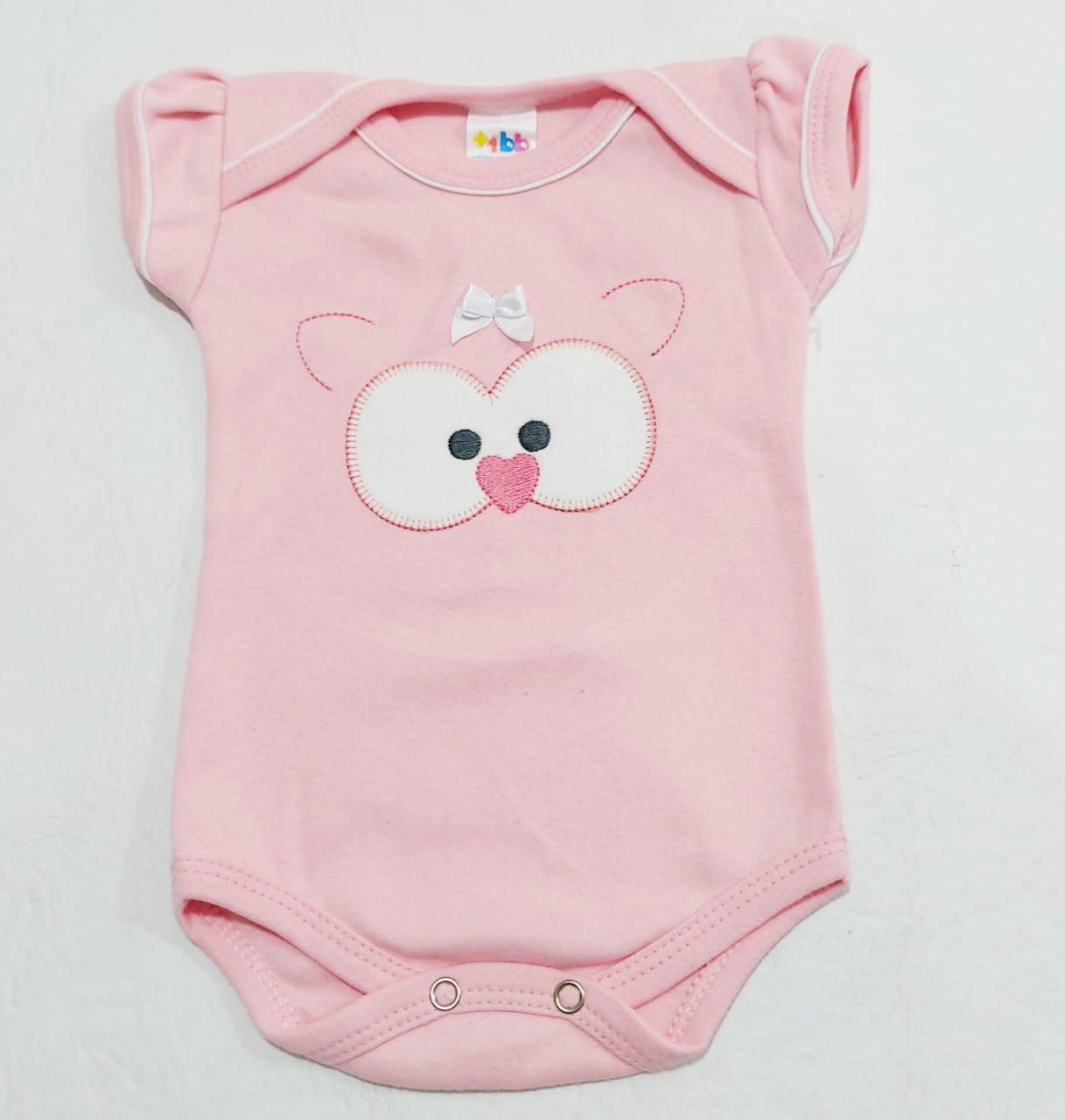 Body Pinguim - Meia Manga Bordado - 0 à 8 meses - 100% Algodão - Yala Baby