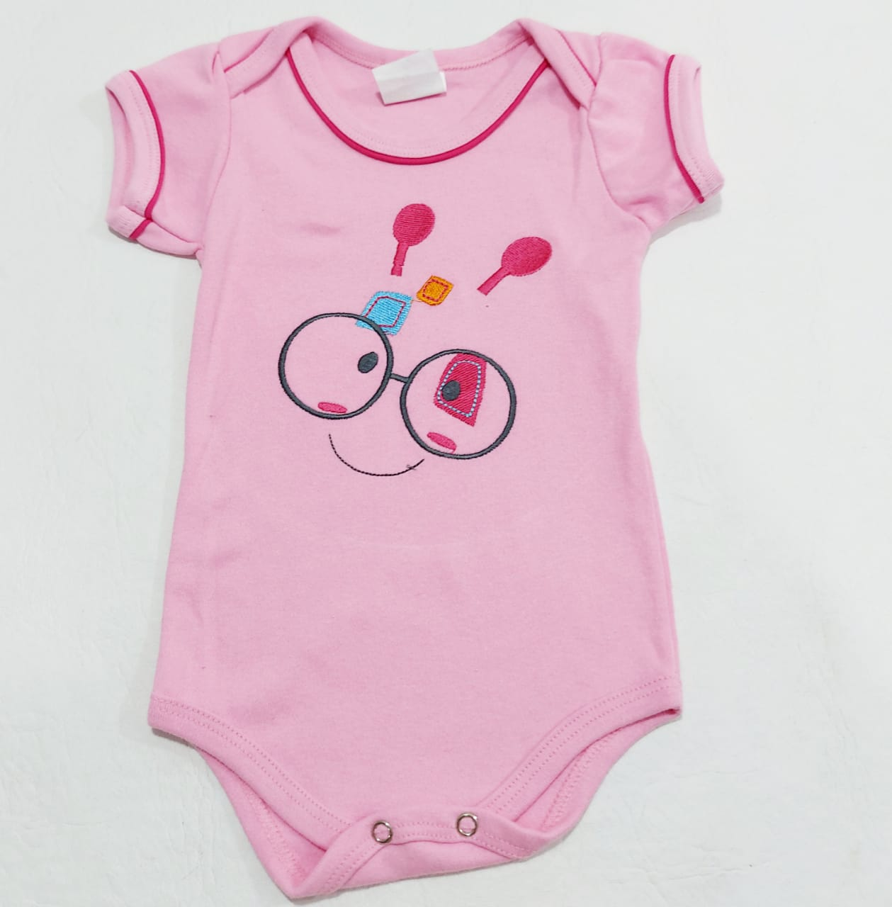 Body Smile - Meia Manga Bordado - 0 à 8 meses - 100% Algodão - Yala Baby