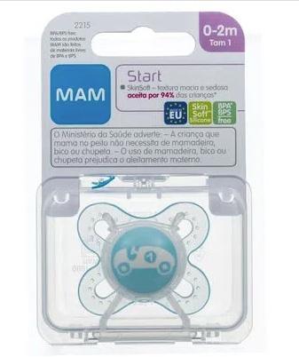 Chupeta Start - Cores Variadas - Bico SkinSfot - Tamanho 01 - 0 à 2 meses - 01 Unidade - MAM