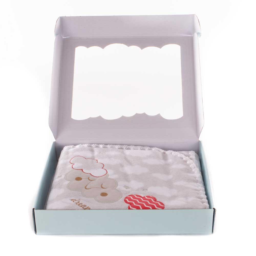 Cobertor Nuvem Cinza - Bordado - 90cm x 1,10m - 100% Algodão - Minasrey