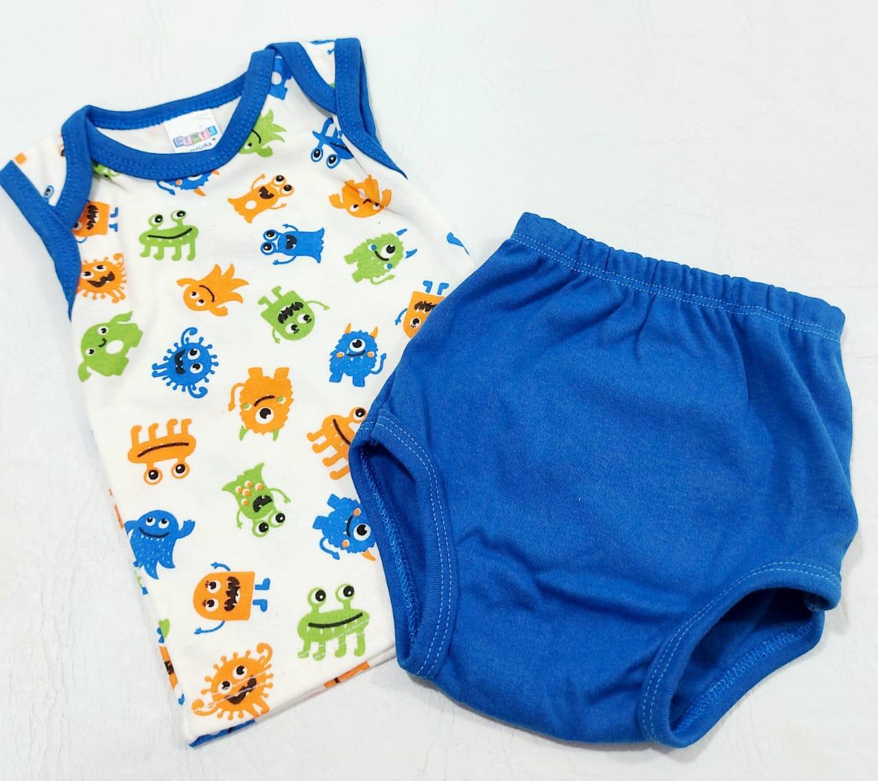 Conjunto Estampado e Bordado - Camisa Regata e Tapa Fralda - 02 Peças - 100% Algodão - Gente Miúda