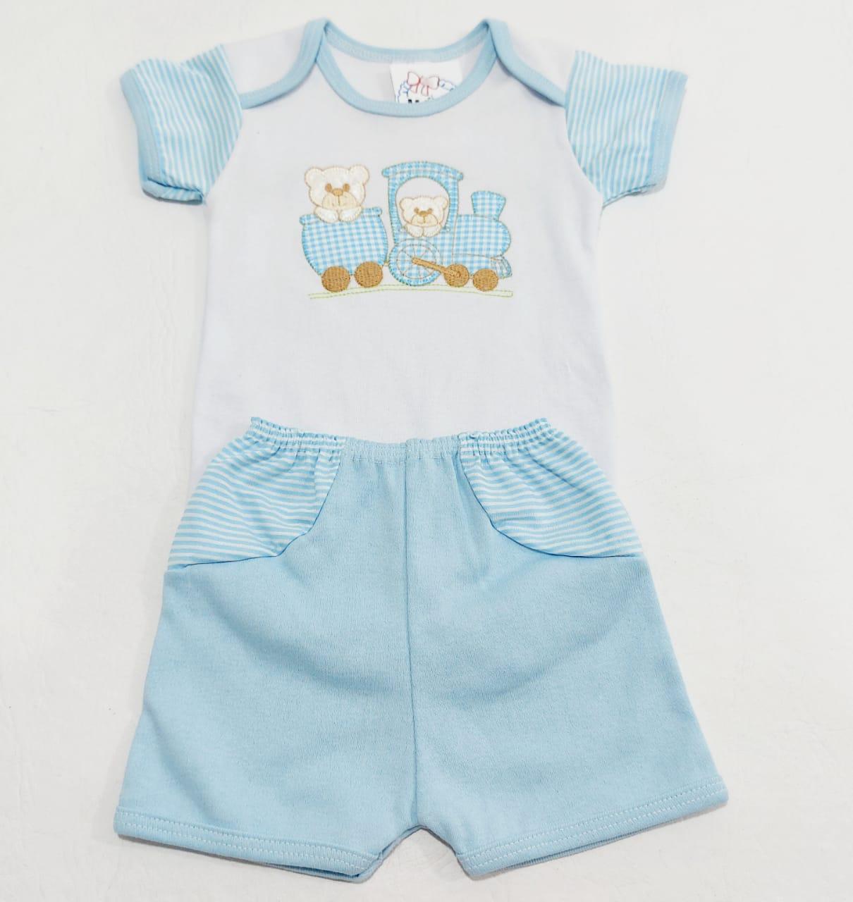 Conjunto Body Bordado E Shorts - Body e Shorts - 02 Peças - 100% Algodão - Baby Amore