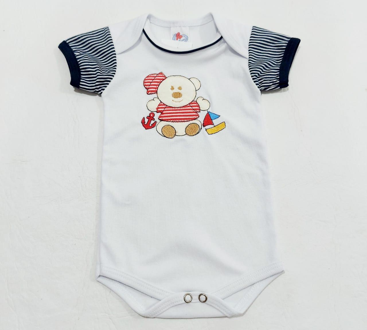 Conjunto Ursinho Marinheiro - Body e shorts - 02 Peças - 100% Algodão - Baby Amore