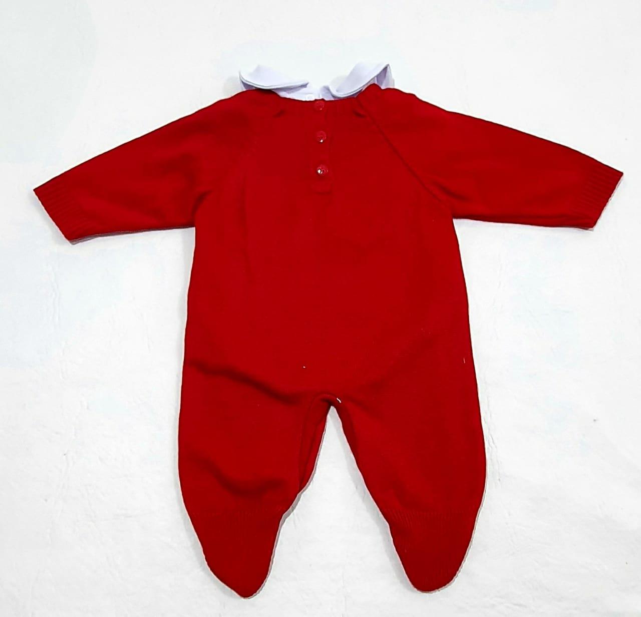 Conjuntinho Tricô - Macacão e Body - 0 à 3 meses - 02 Peças - Algodão e Acrílico - Tamine Baby