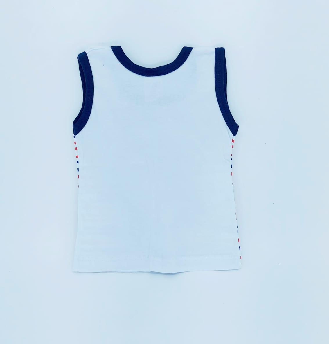 Conjunto Baby Bear Azul Marinho - Camisa Regata E Shorts - 02 Peças - 100% Algodão - Happy Baby
