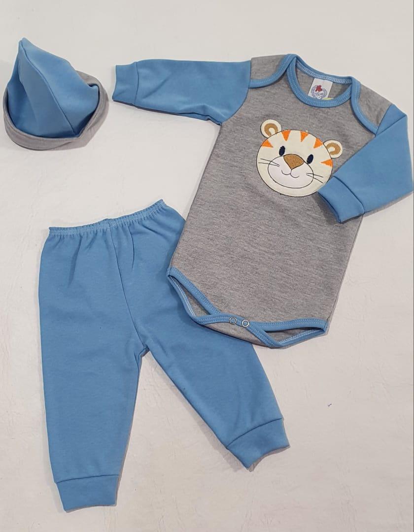Conjunto Body Tigre  Suedine com Touca - Baby Amore