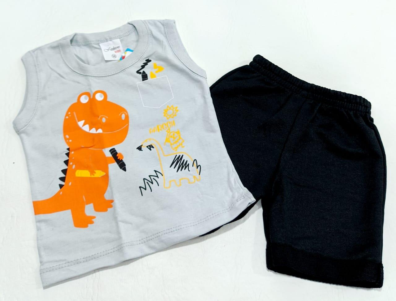 Conjunto Dino - Camisa Regata E Shorts - 02 Peças - 0 à 6 meses - Fashion Kids