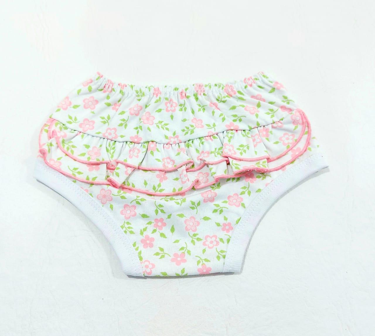 Conjunto Floral - Body Regata e Tapa Fralda C/ Tiara - 100% Algodão - Baby amore