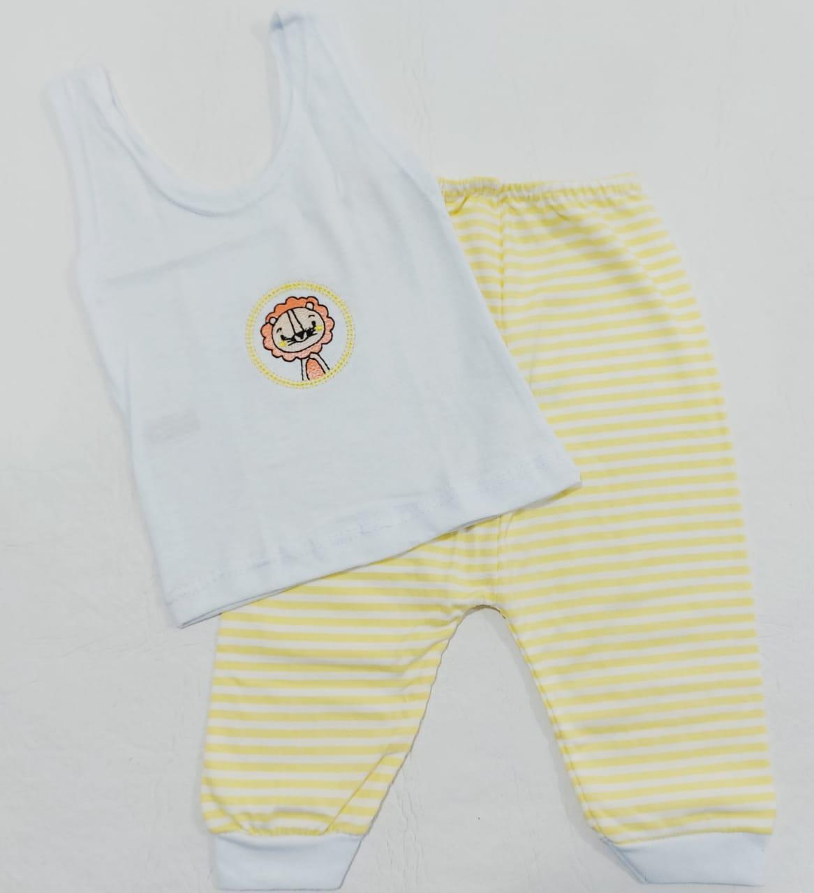 Conjunto Listrado Amarelo - Camiseta Regata e Mijão - Recém Nascido - 100% Algodão - Cia do Bebê