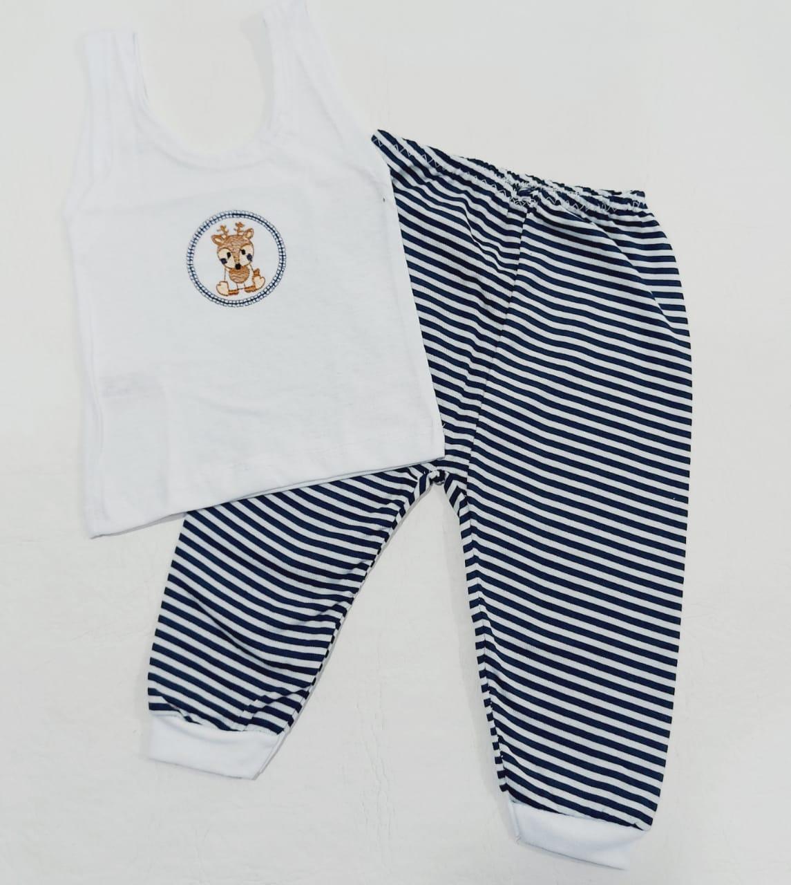 Conjunto Listrado Azul Marinho - Camiseta Regata e Mijão - Recém Nascido - 100% Algodão - Cia do Bebê