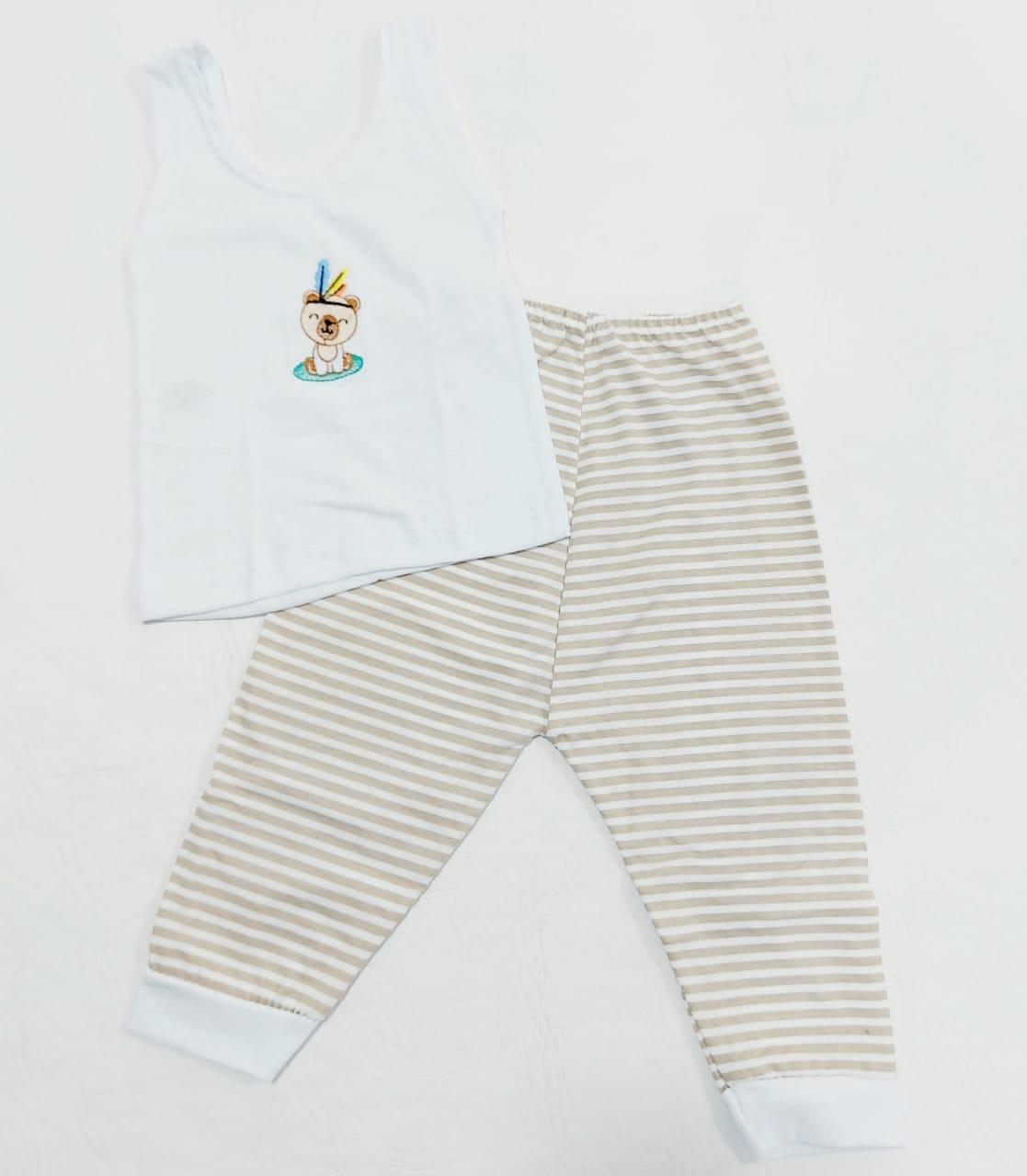 Conjunto Listrado Marrom - Camiseta Regata e Mijão - Recém Nascido - 100% Algodão - Cia do Bebê