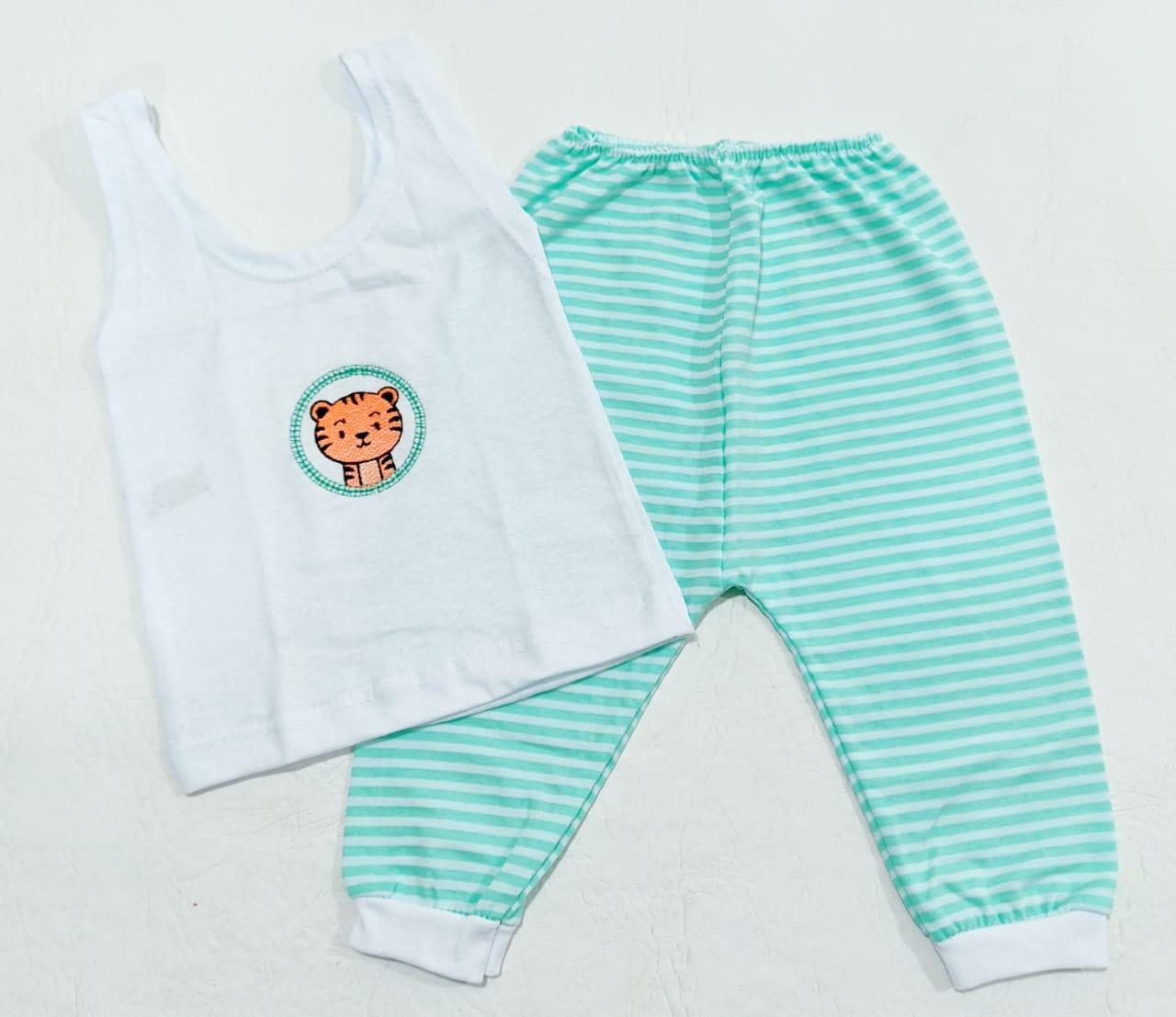 Conjunto Listrado Verde - Camiseta Regata e Mijão - Recém Nascido - 100% Algodão - Cia do Bebê