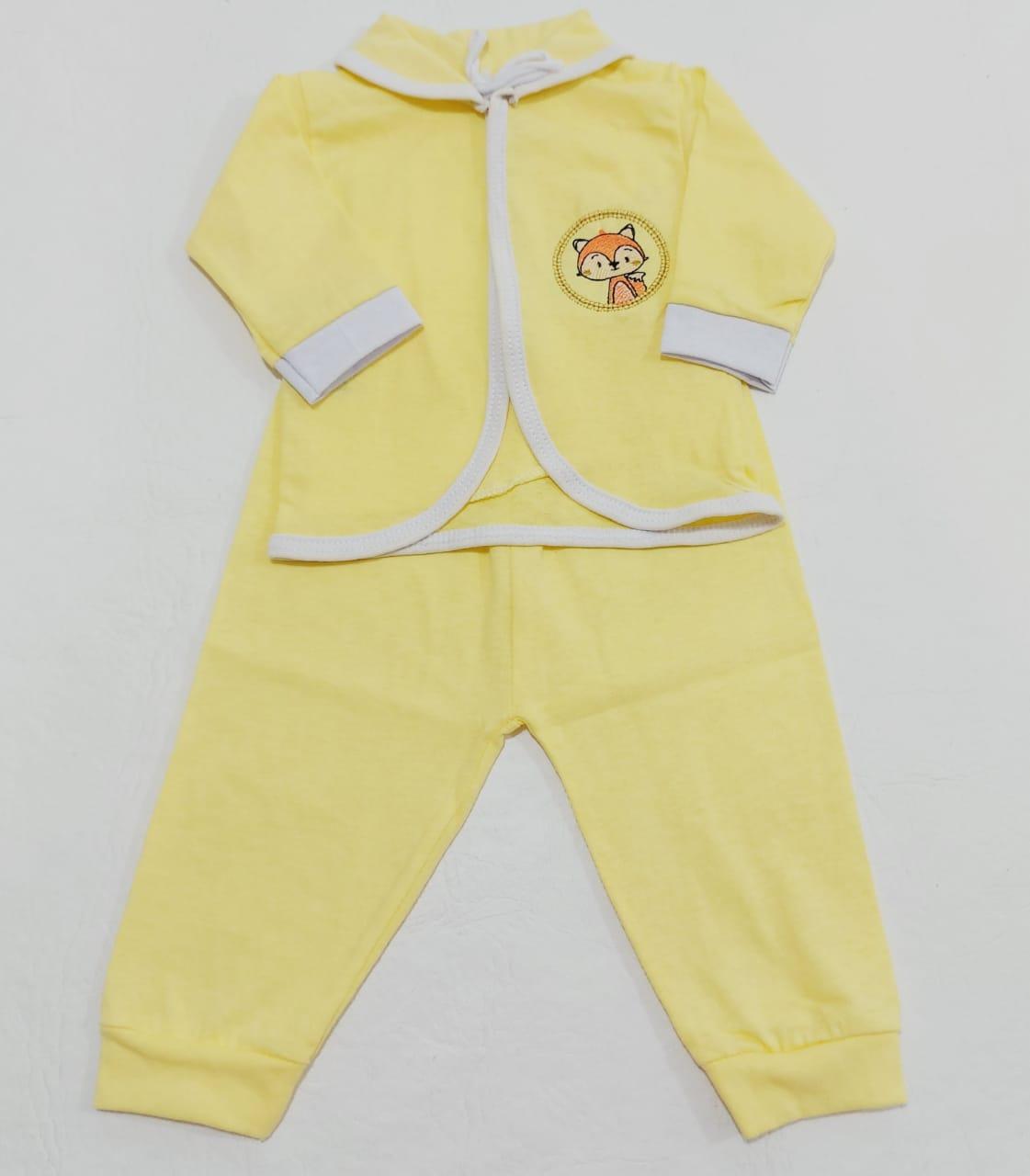 Conjunto Pagão Amarelo - Camiseta, Casaquinho e Mijão - 03 Peças - Recém Nascido - 100% Algodão - Cia do Bebê