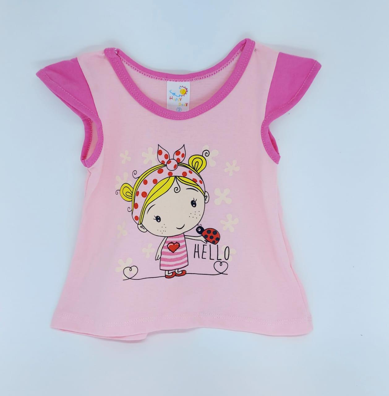 Conjunto Rosa - Camisa Regata E Shorts - 02 Peças - 100% Algodão - Happy Baby