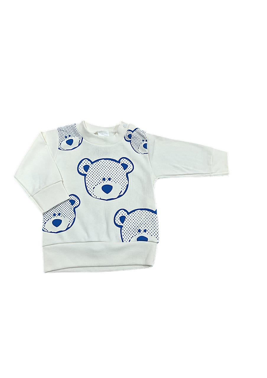 Conjunto Urso  - Camisa manga longa e Calça - 02 Peças - 04 à 06 Meses  - 100% Algodão - Gente Miúda