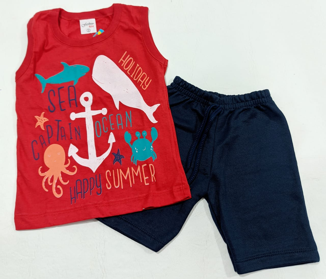 Conjunto Verão Animais Marinhos - Camisa Regata E Shorts - 02 Peças - 1 à 3 anos - Fashion Kids