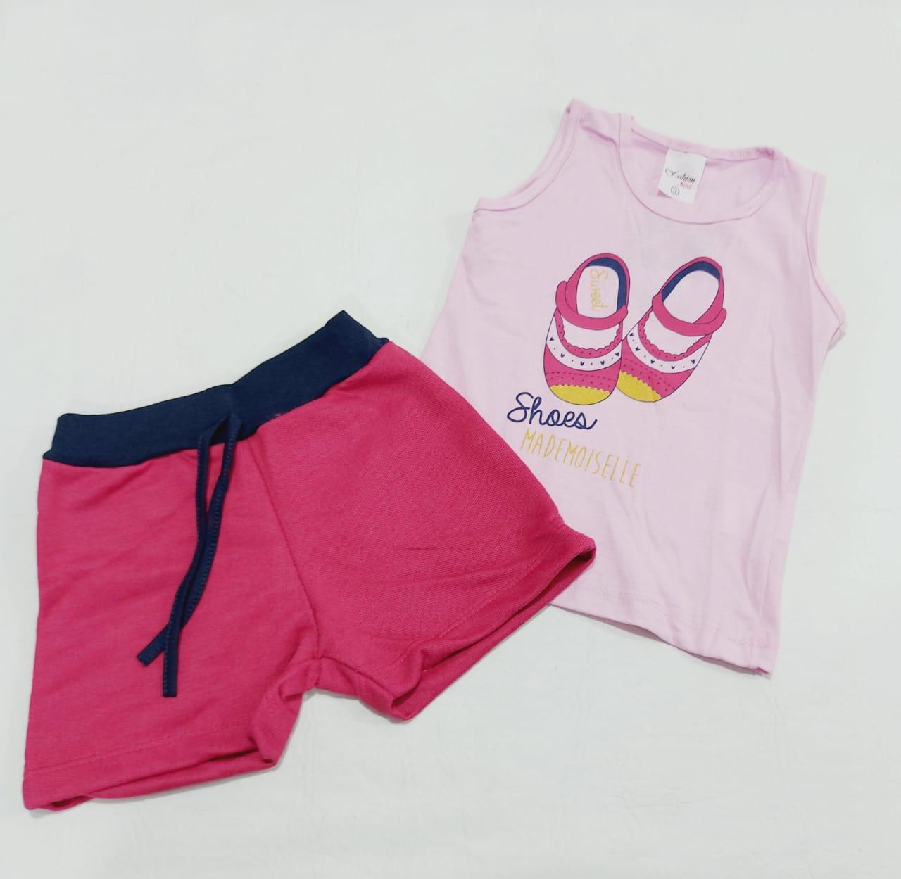 Conjunto Verão Bailarina Rosa - Camisa Regata E Shorts - 02 Peças - 3 Anos - Fashion Kids