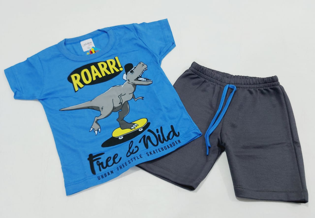 Conjunto Verão Dino - Camisa Meia Manga E Shorts - 02 Peças - 2 à 3 Anos - Fashion Kids