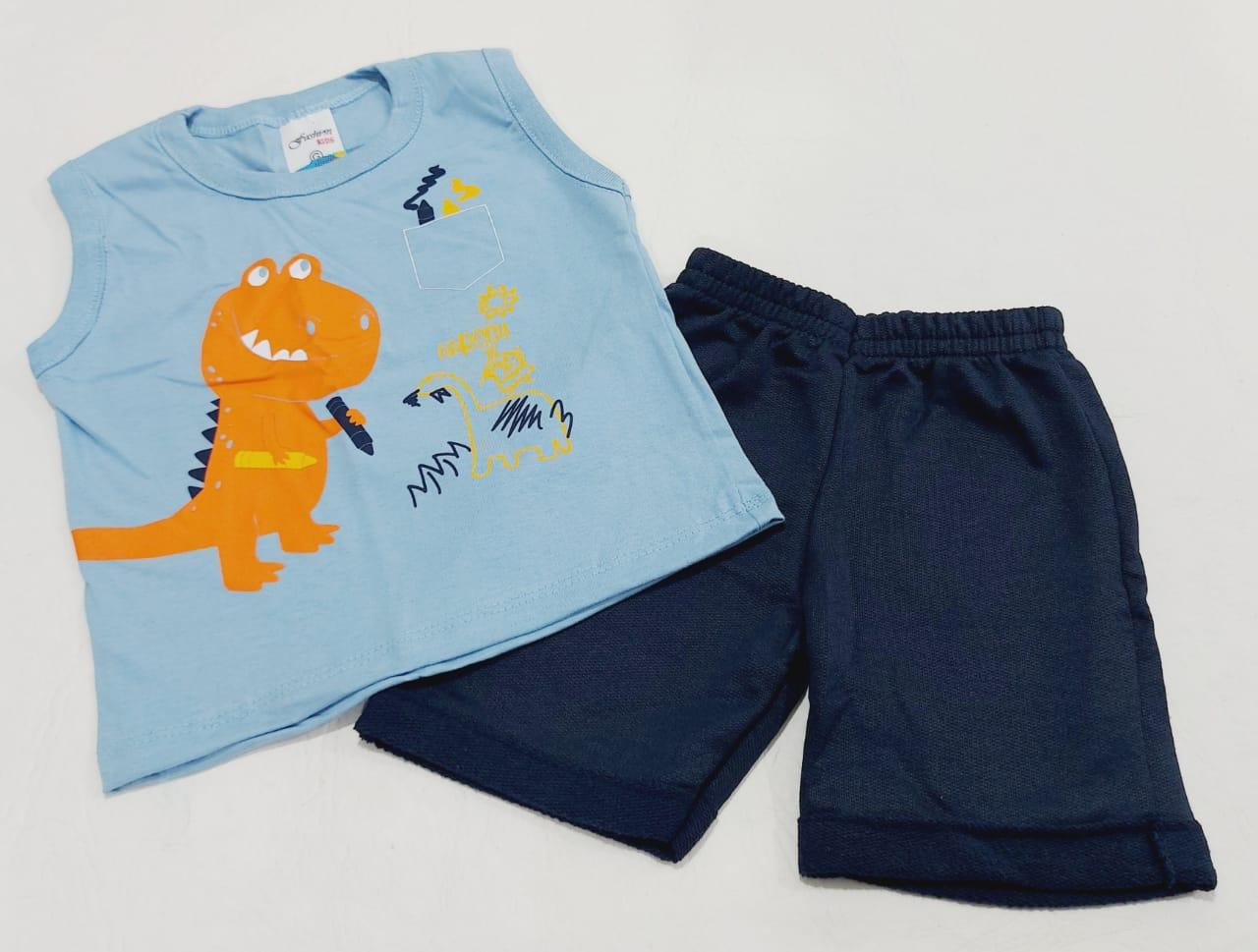 Conjunto Verão Dino - Camisa Regata E Shorts - 02 Peças - 7 à 10 meses - Fashion Kids