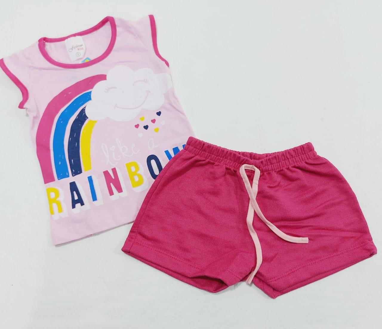 Conjunto Verão Nuvem Rosa - Camiseta E Shorts - 02 Peças - 1 à 3 Anos - Fashion Kids