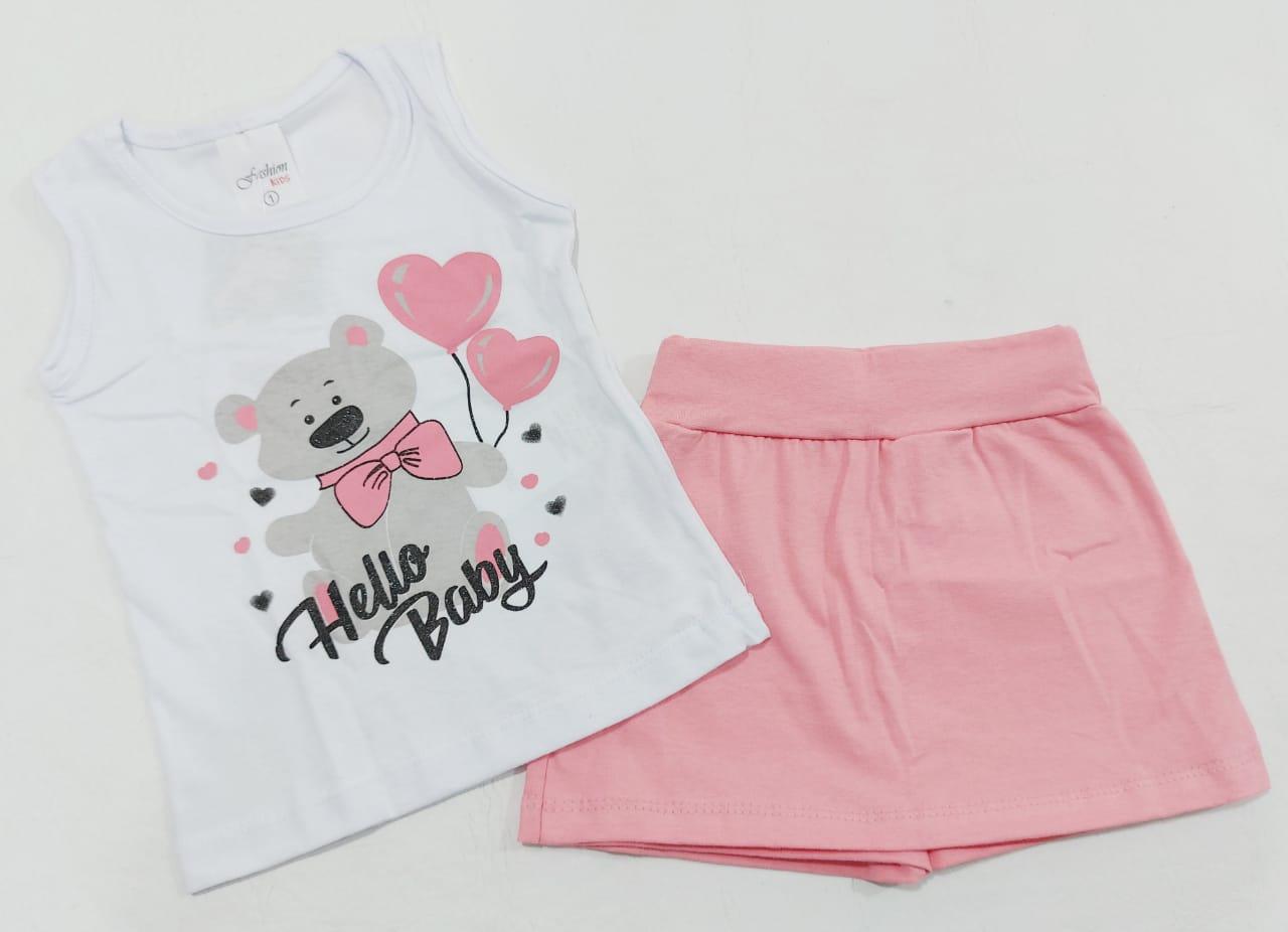 Conjunto Verão Ursinho Baby - Camiseta E Shorts Saia - 02 Peças - 1 à 2 Anos - Fashion Kids