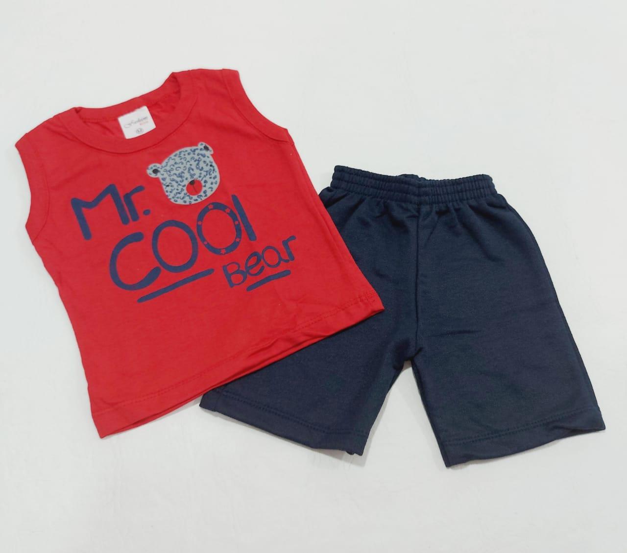 Conjunto Verão Ursinho - Camisa Regata E Shorts - 02 Peças - 0 à 10 meses - Fashion Kids