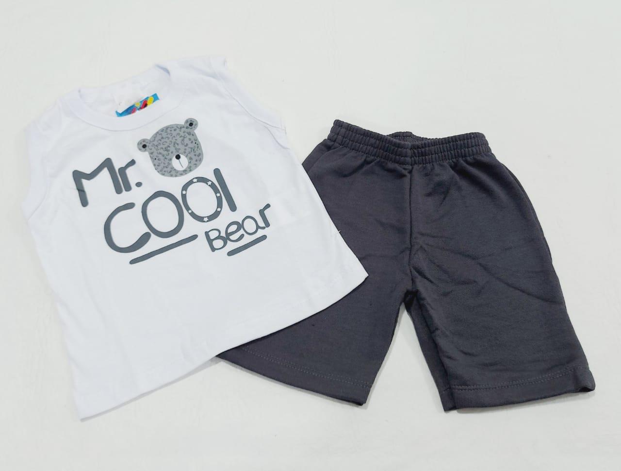 Conjunto Verão Ursinho - Camisa Regata E Shorts - 02 Peças - 7 à 12 meses - Fashion Kids