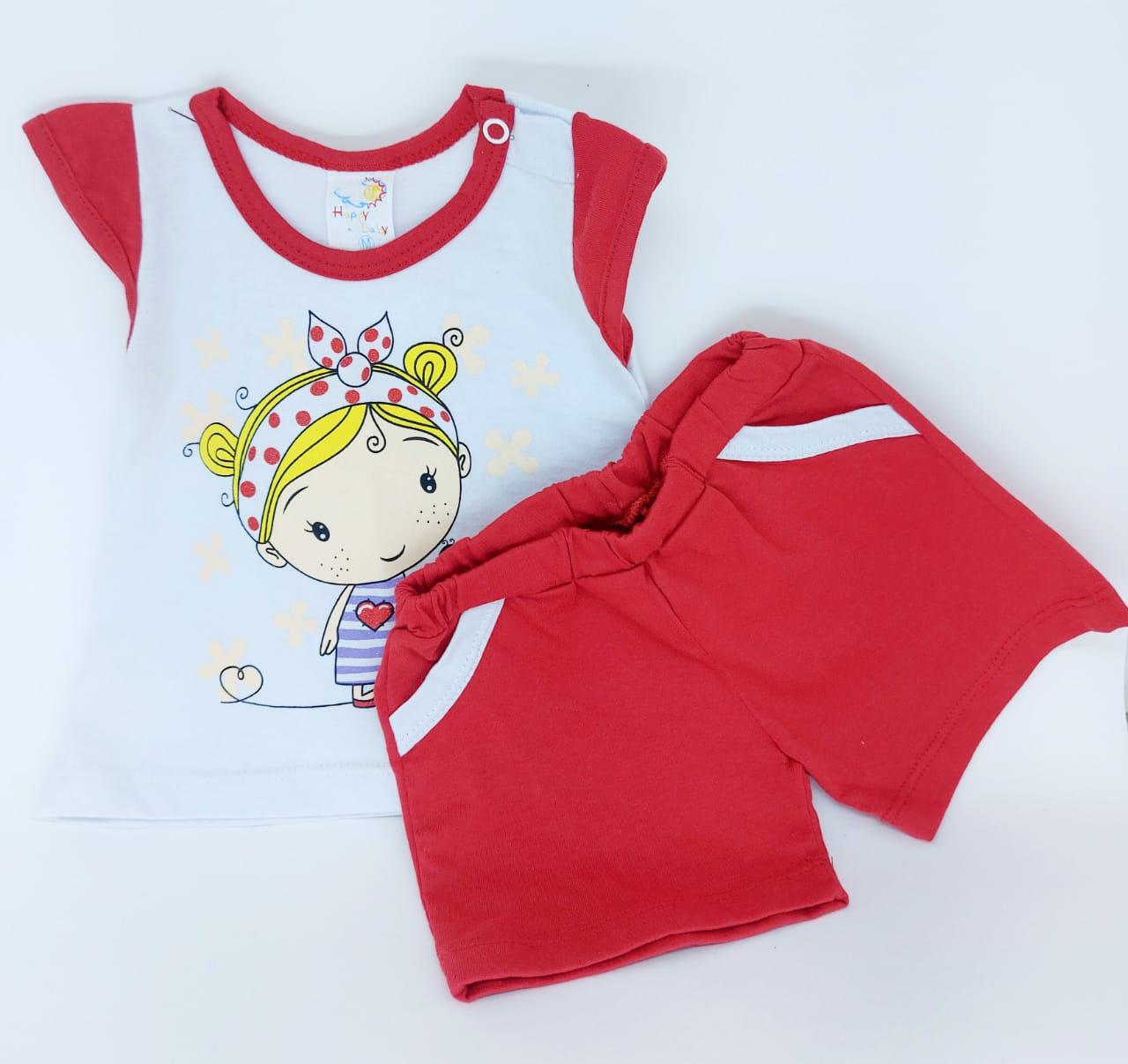 Conjunto Vermelho - Camisa Regata E Short - 02 Peças - 100% Algodão - Happy Baby