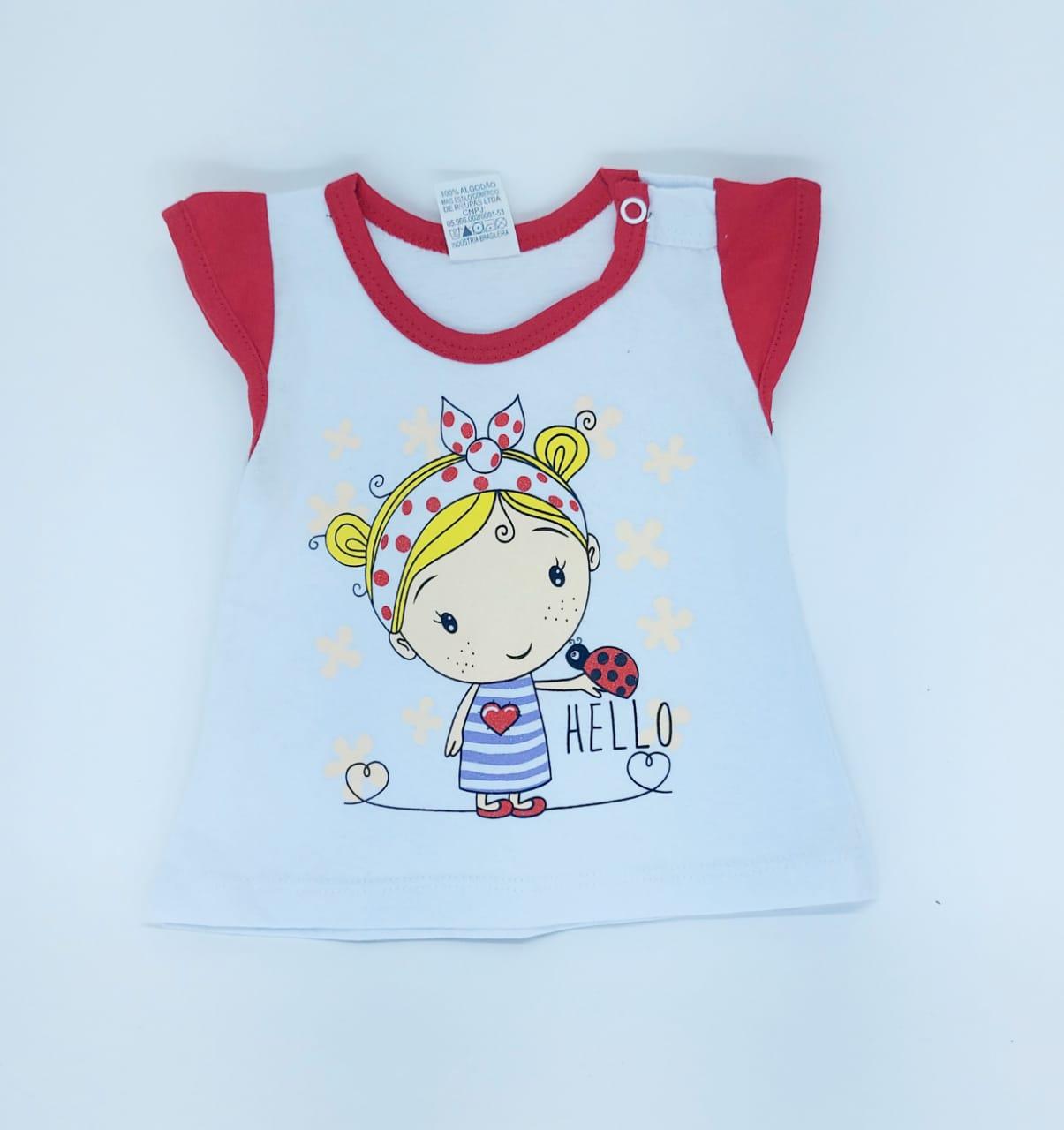 Conjunto Vermelho - Camisa Regata E Shorts - 02 Peças - 100% Algodão - Happy Baby