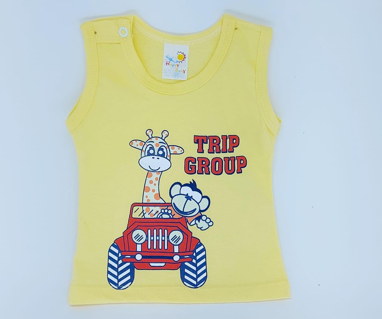 Conjunto Viagem Dos Bichinhos - Camisa Regata E Shorts - 02 Peças - 100% Algodão - Happy Baby