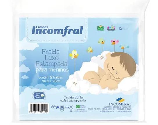 Fralda Luxo Estampa Azul 70cm x 70cm - Com 5 Unid - Incomfral