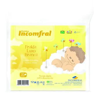 Fralda Luxo Branca 70 x 70 cm - 5 unidades - Incomfral