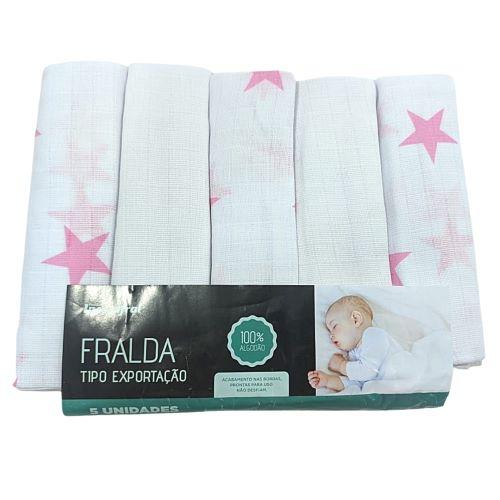 Fralda Tipo Exportação Estrela Rosa - 70cm x 70cm - Incomfral